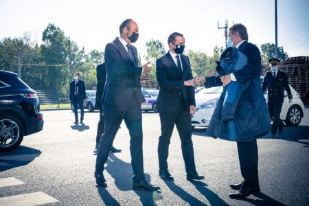Visite de Monsieur le Ministre délégué chargé des comptes publics Olivier Dussopt accompagné d'Edouard Philippe, Maire du Havre.