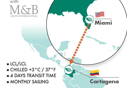 Lancement de la nouvelle ligne LCL Seafrigo depuis Miami vers Carthagènes !